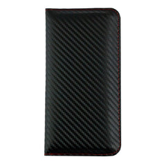 MAGNETIC PHONE WALLET CASE COVER- BLACK/RED CARBON (LM4)