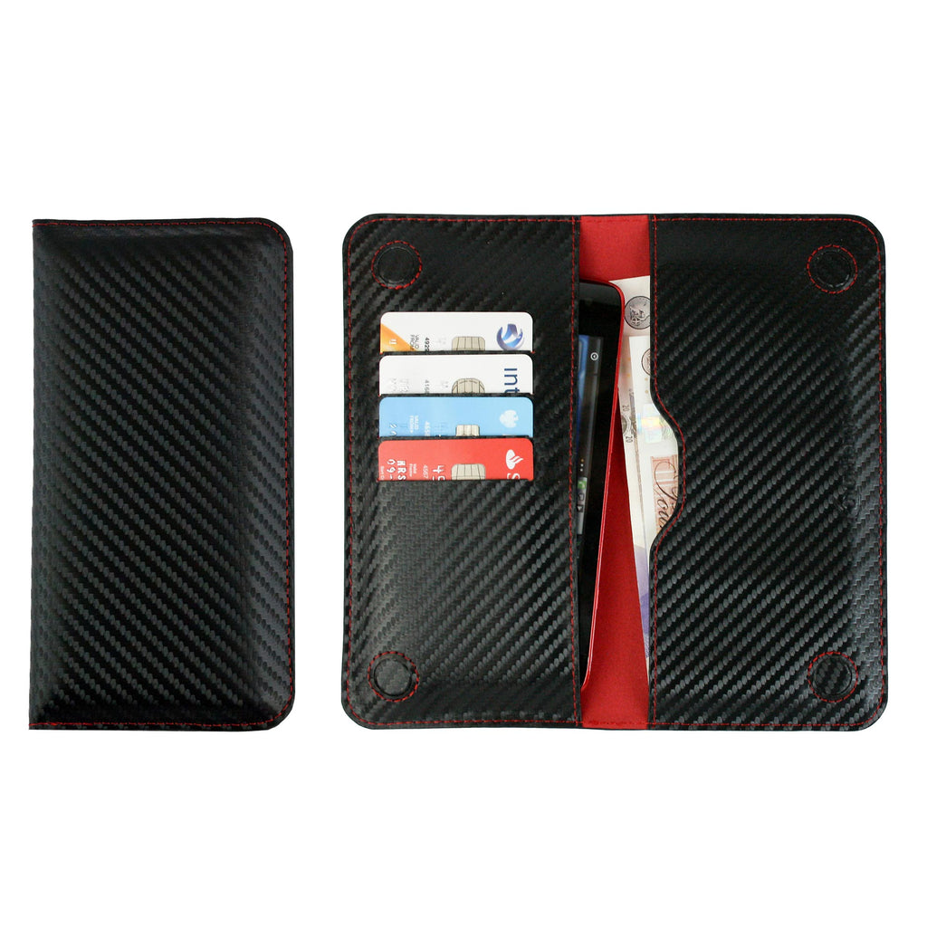 MAGNETIC PHONE WALLET - BLACK/RED CARBON