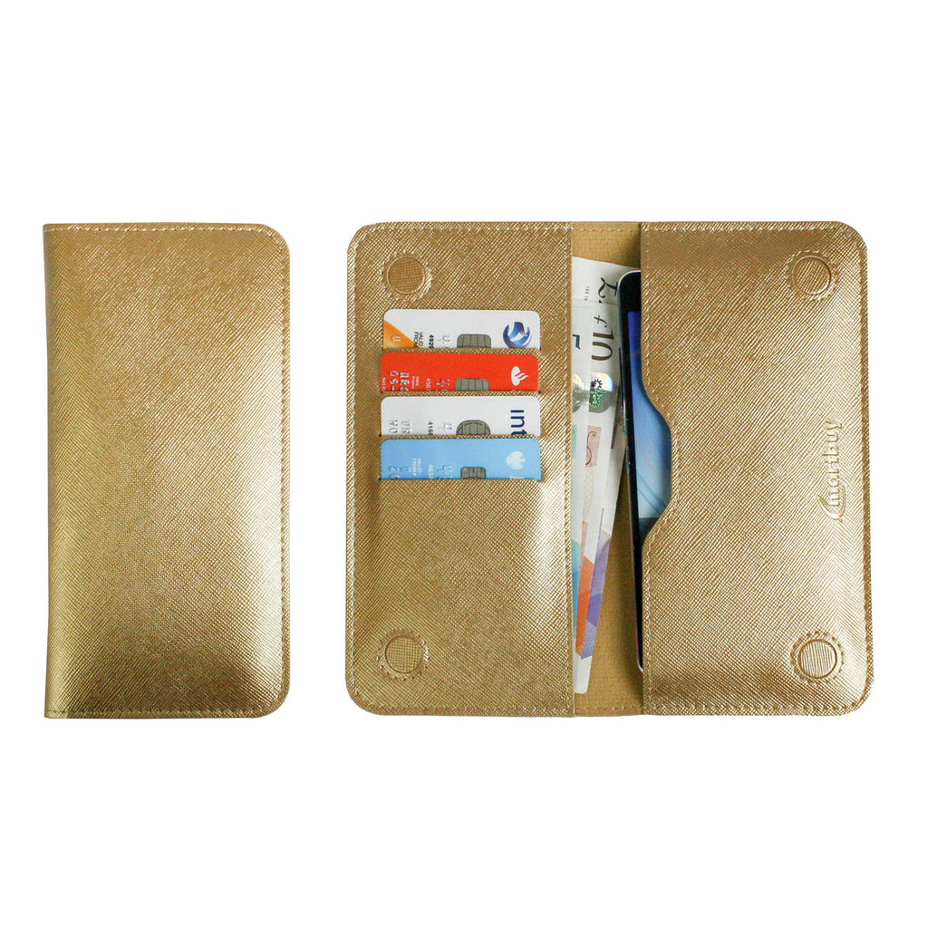 MAGNETIC PHONE WALLET CASE COVER- METALLIC GOLD PLAIN (LM4)