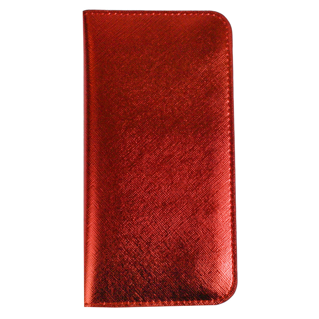 MAGNETIC PHONE WALLET CASE COVER- RED PLAIN (LM2)