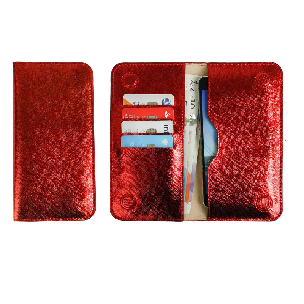 MAGNETIC PHONE WALLET CASE COVER- RED PLAIN (LM4)