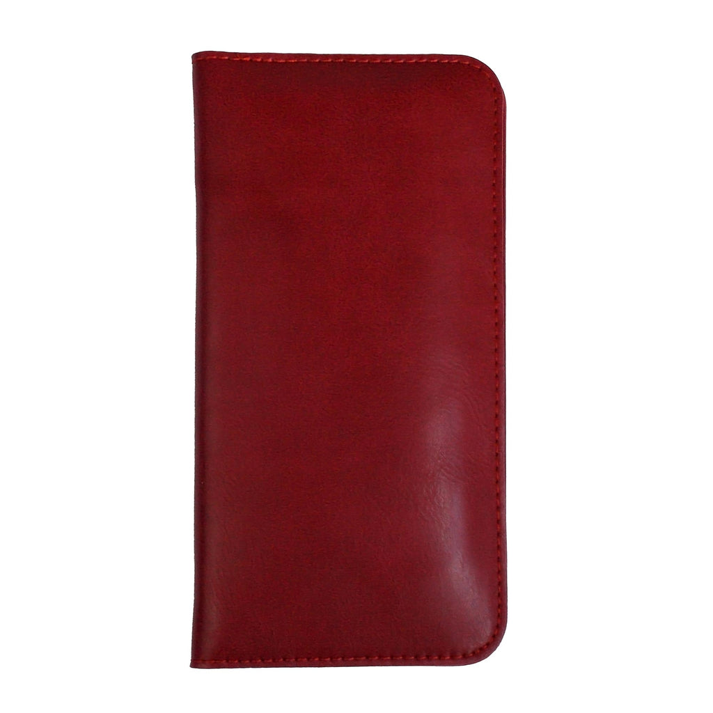 MAGNETIC PHONE WALLET CASE COVER- DARK RED PLAIN (LM2)