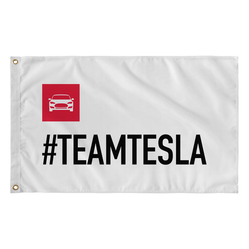 "Wall Flag - 36""x60"" - #TEAMTESLA from tesla-shop.co"