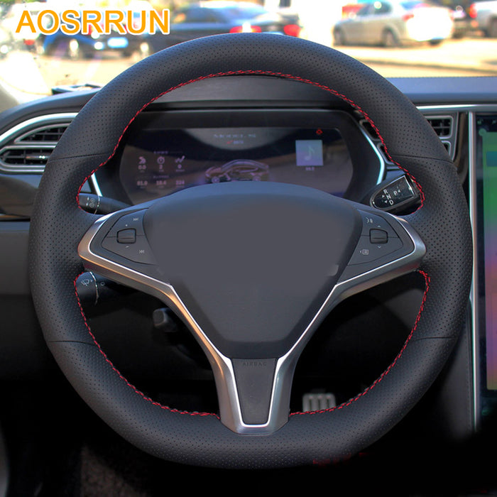 Leather Hand-stitched Steering Wheel Covers from tesla-shop.co