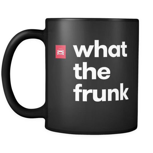 Black Mug - What The Frunk from tesla-shop.co
