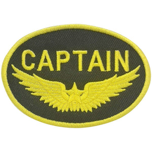 Pins Patches Lanyards Keychains - Captain Gold Wings Embroidered Patch (Iron On Application)