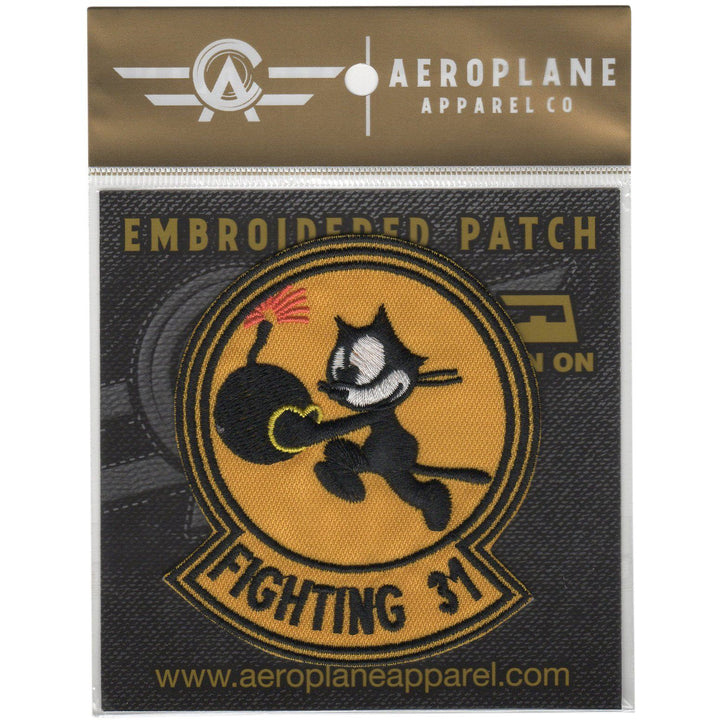 Pins Patches Lanyards Keychains - Strike Fighter Squadron 31 (VF-31) - Tomcatters Embroidered Patch (Iron On Application)