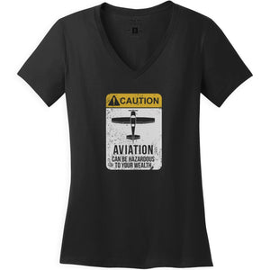 Shirts - Caution Aviation Can Be Hazardous Aeroplane Apparel Co. Ladie's T-Shirt
