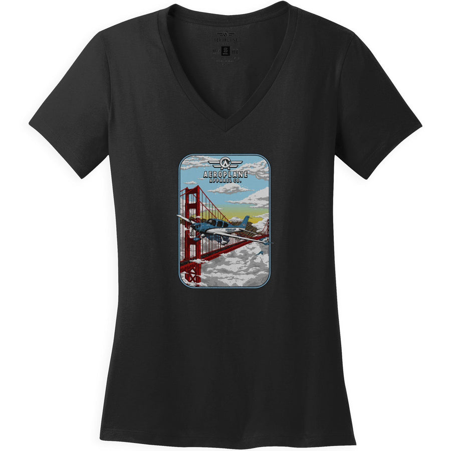 Shirts - Cirrus Golden Gate Bridge Aeroplane Apparel Co. Ladie's T-Shirt
