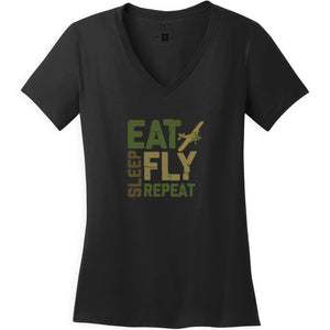 Shirts - Eat Sleep Fly Repeat Block Aeroplane Apparel Co. Ladie's T-Shirt