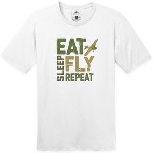 Shirts - Eat Sleep Fly Repeat Block Aeroplane Apparel Co. Men's T-Shirt