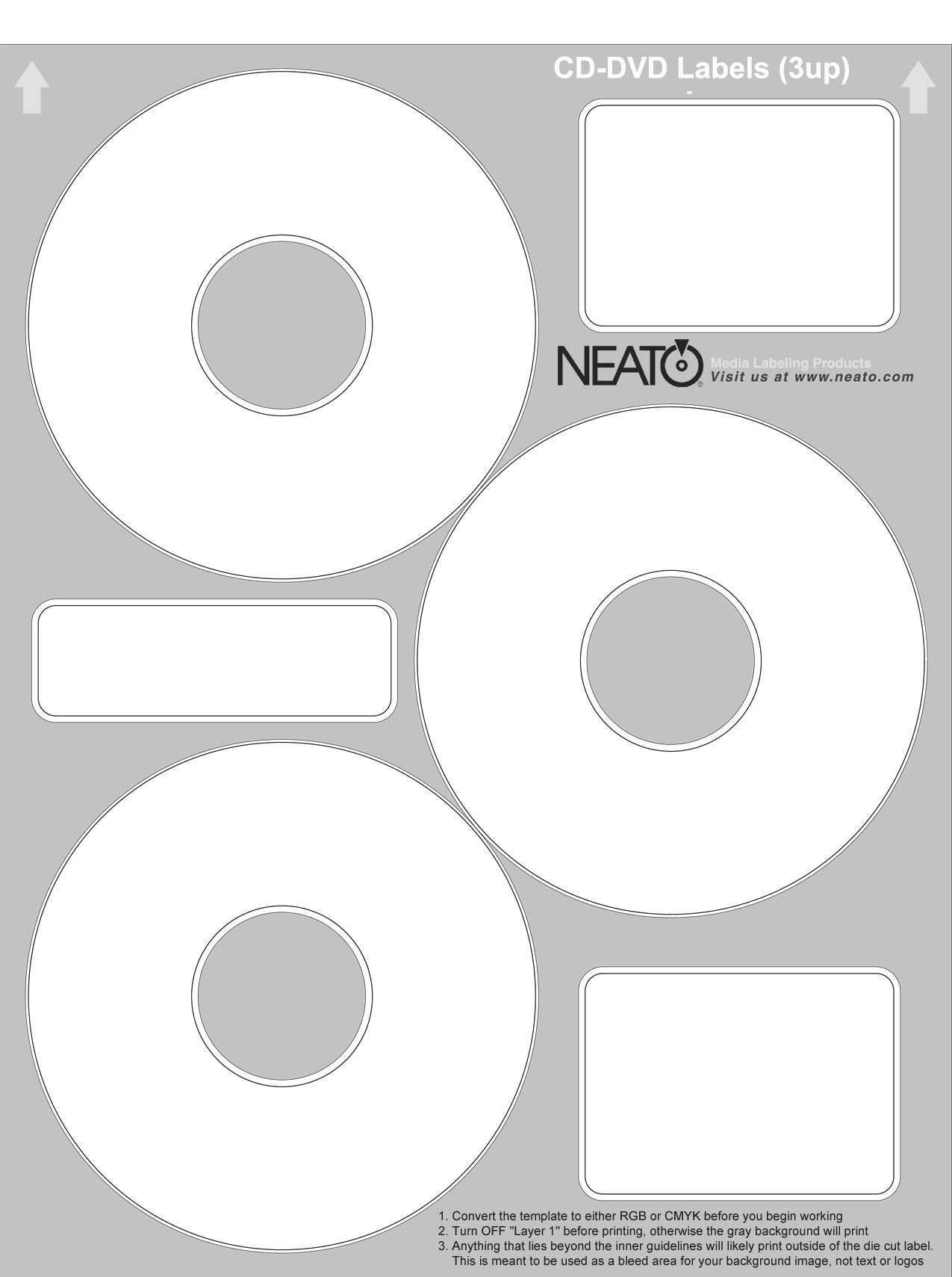 3 up cd label sheet neato economatte cd dvd labels 100 sheets