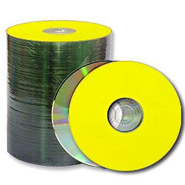 photo about Printable Cd called Spin-X CD-R 80Min 48X Diamond/Yellow Thermal Printable, Crystal clear Hub