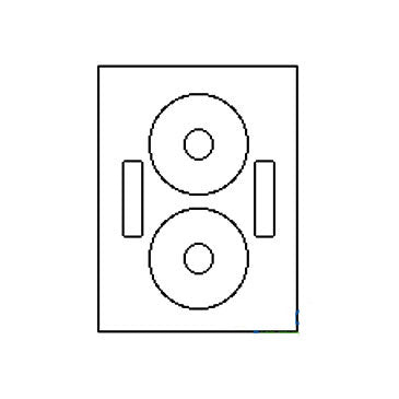 2-Up CD Label Sheet: 4.625 Diam White, 100 Sheets