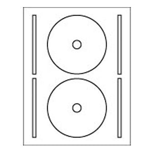 2-Up CD Label Sheet: 4.65625 Diam .65625 Hub White, 100 Sheets