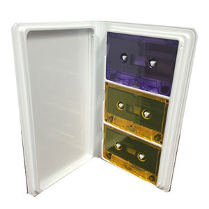 Audio Cassette White Vinyl Album Holds 3 - 5 Pack
