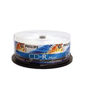 Philips CD-R 80Min 52X Digital Audio / Music Only, Branded Logo, Retail Pack, Cake Box