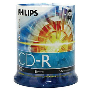 Philips CD-R 80Min 52X Branded Logo, Retail Pack, Cake Box