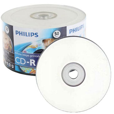 Philips CD-R 80Min 52X White Inkjet Clear Hub Printable, Retail Pack, Shrink Wrap