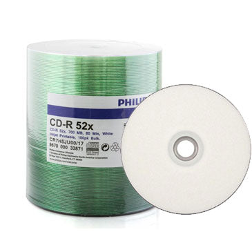 Philips CD-R 80Min 52X White Inkjet Hub Printable Clear Hub, Shrink Wrap