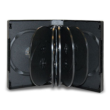 39mm 12 Disc DVD Case Black with 5 Trays, 10 Pack