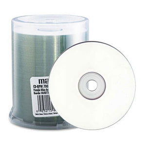 Maxell 648720 CD-R 48X 80Min White Inkjet Printable, 100 Pk. Spindle