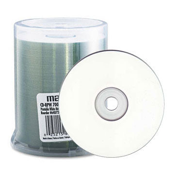 image regarding Inkjet Printable Cd called Maxell 648720 CD-R 48X 80Min White Inkjet Printable, 100 Pk. Spindle