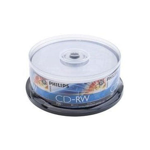 Philips CD-RW 80Min 4X-12X CD-Rewritable, Branded Logo, Retail Pack, Cake Box