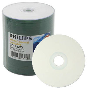 Philips CD-R 80MIN 52X White Thermal Hub Printable Clear Hub, Shrink Wrap