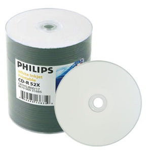 Philips CD-R 80Min 52X White Inkjet Hub Printable No Stacking Ring Metalized Hub, Shrink Wrap
