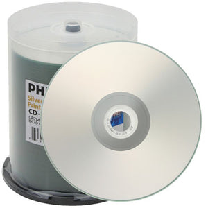 Philips CD-R 80Min 52X Matte Silver Inkjet Metalized Hub Printable, Cake Box
