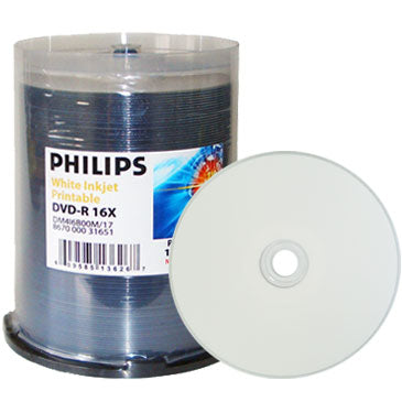 Philips DVD-R 16X White Inkjet Metalized Hub, Cakebox