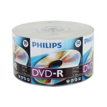 Philips DVD-R 16X 4.7GB White Inkjet Clear Hub Printable, Retail Pack, Shrink Wrap