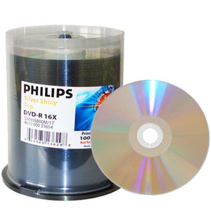 Philips DVD-R 16X Shiny Silver Laquer Metalized Hub, Cakebox