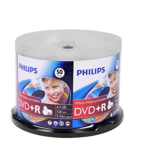 Philips DVD+R 16X 4.7GB White Inkjet Clear Hub, Retail Pack, Cakebox