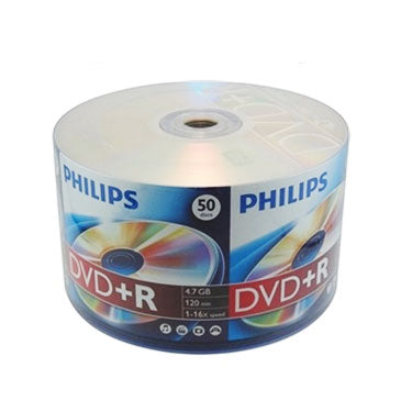 Philips DVD+R 16X 4.7GB Branded Logo, Shrink Wrap