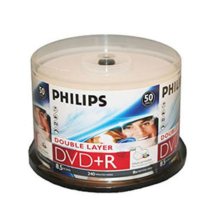 Philips Dual Layer DVD+R 8X 8.5GB White Inkjet Printable, Retail Pack, Cakebox