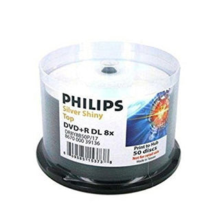 Philips Dual Layer DVD+R 8X 8.5GB Shiny Silver, Cakebox