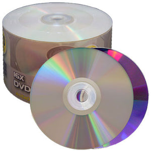 Premium DVD-R 16X Shiny Silver Top, Clear Hub