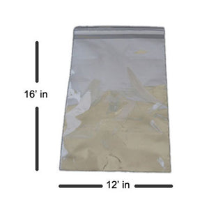 Premium Resealable Cello Poly Bags,1.5 MIL, 12 x 16 Inches