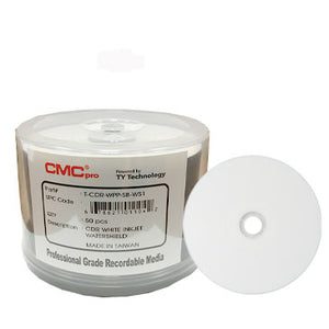 CMC Pro (TY) CD-R 80Min 52X Water Shield White Inkjet Printable