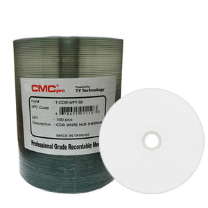 CMC Pro (TY) CD-R 80Min 52X White Thermal Hub Printable, Everest Compatible