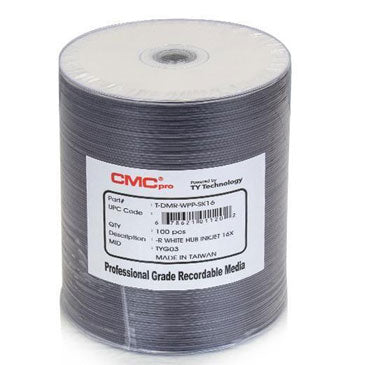 CMC Pro (TY) DVD-R 4.7GB 16X White Inkjet Hub Printable, Tape Wrap