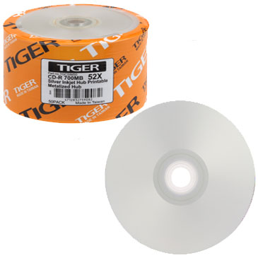 Tiger CDR / CD-R 52X 700MB Silver Inkjet Printable, Metalized Hub