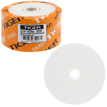 Tiger CDR / CD-R 52X 700MB White Inkjet Printable, Metalized Hub
