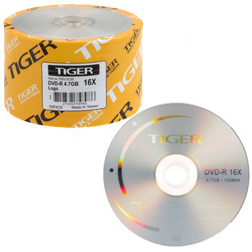 Tiger DVD-R 16X 4.7GB Branded, Clear Hub
