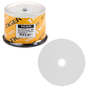 Tiger DVD+R 8X Dual Layer White Inkjet Hub Printable, Clear Hub