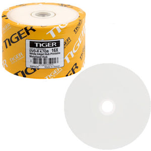 Tiger DVD-R 16X 4.7GB White Inkjet Printable, Metalized Hub