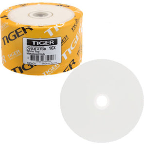 Tiger DVD-R 16X 4.7GB White Top, Metalized Hub