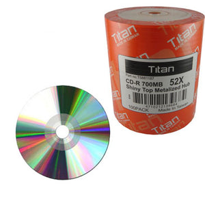 Titan CD-R 80Min 52X Shiny Silver Metalized Hub